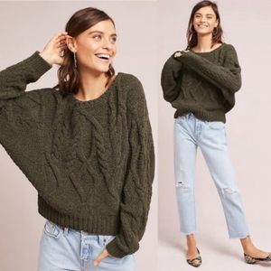 Anthropologie Chunky Knit Olive Green Sweater M